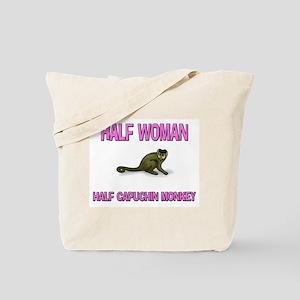 Half Woman Half Capuchin Monkey Tote Bag