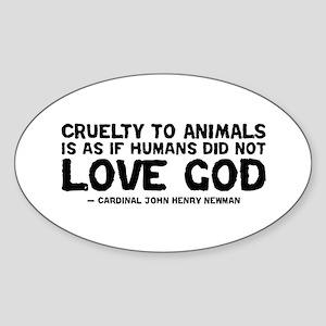 Quote - Newman - Love God Oval Sticker
