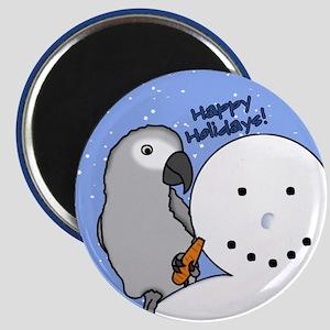 Snowman Congo African Grey Christmas Magnet