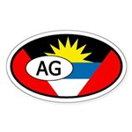 Antigua and Barbuda Flag Oval Sticker