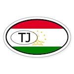 Tajikistan Flag Oval Sticker