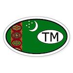 Turkmenistan Flag Oval Sticker