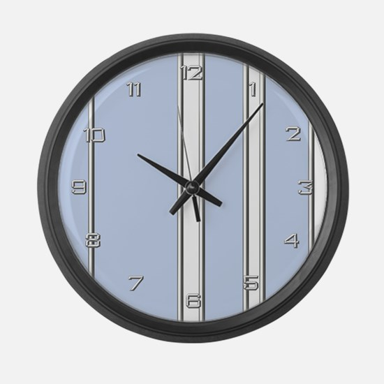 Silver Blue Stripes Giant Clock