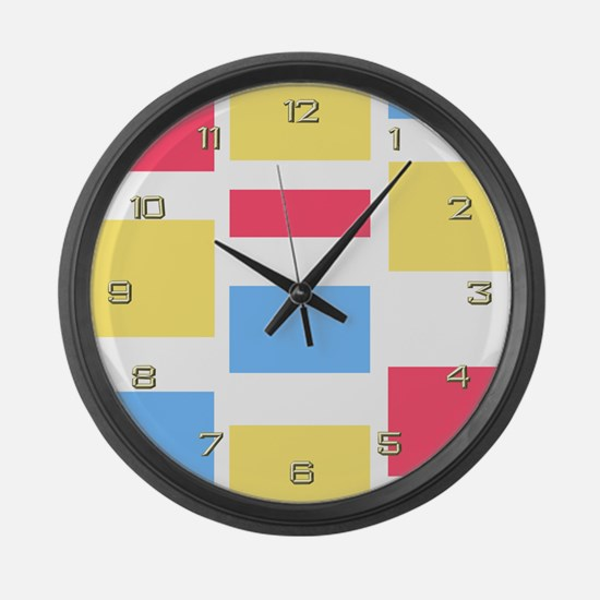 Pink Blue Yellow Giant Clock