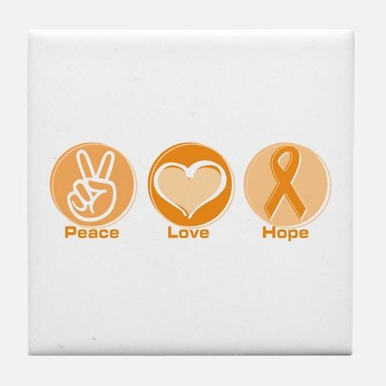 Peace Love Orange Hope Tile Coaster