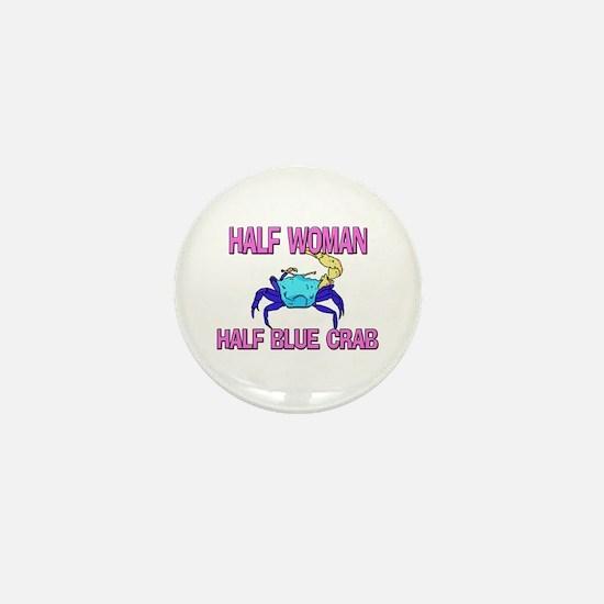 Half Woman Half Blue Crab Mini Button