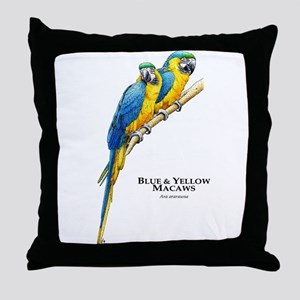 Blue & Yellow Macaws Throw Pillow