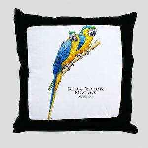 Blue & Yellow Macaws Throw Pillow