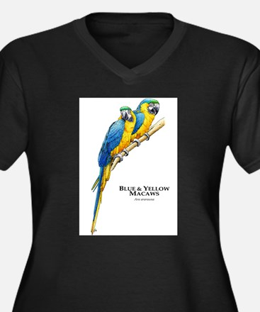 Blue & Yellow Macaws Women's Plus Size V-Neck Dark