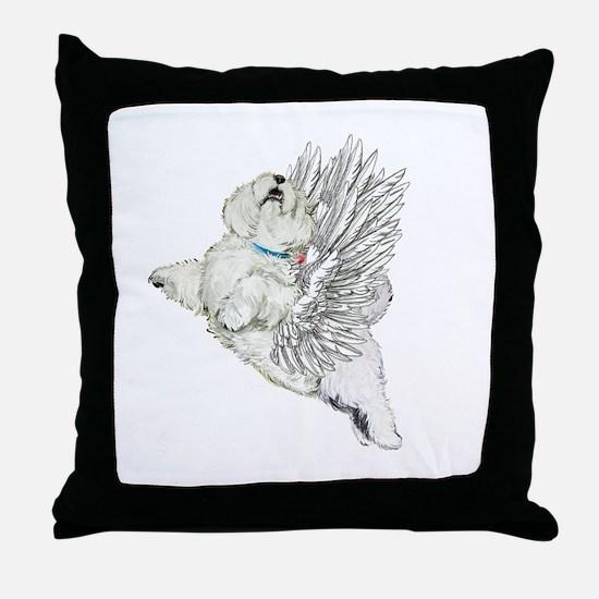 Guardian Angel Westie Throw Pillow