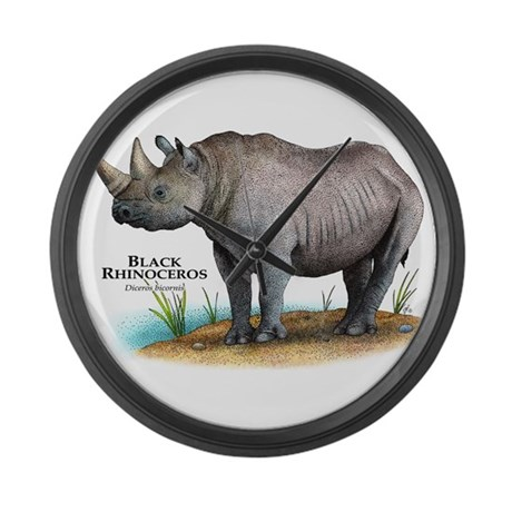 Black Rhinoceros Giant Clock
