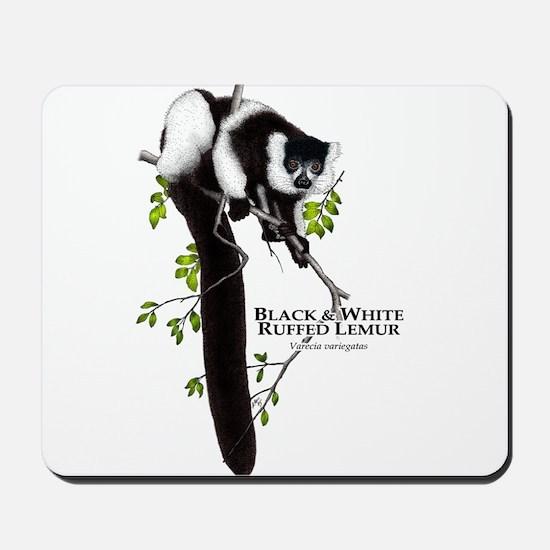 Black & White Ruffed Lemur Mousepad