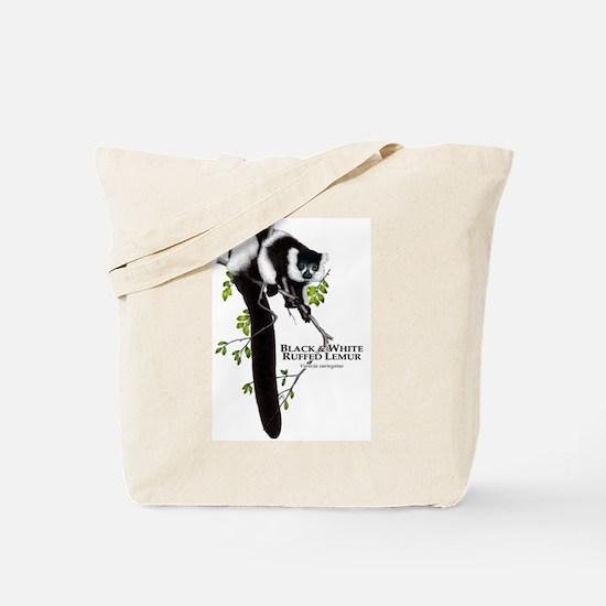 Black & White Ruffed Lemur Tote Bag
