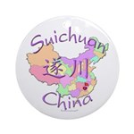 Suichuan China Map Ornament (Round)