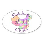 Suichuan China Map Oval Sticker