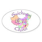 Suichuan China Map Oval Sticker (10 pk)