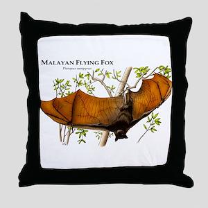 Malayan Flying Fox Throw Pillow