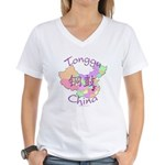 Tonggu China Map Women's V-Neck T-Shirt