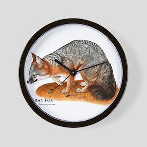 Gray Fox Wall Clock