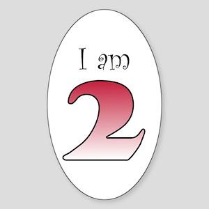 I am 2 (red) Oval Sticker