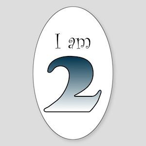 I am 2 (navy blue) Oval Sticker