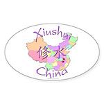 Xiushui China Map Oval Sticker (10 pk)