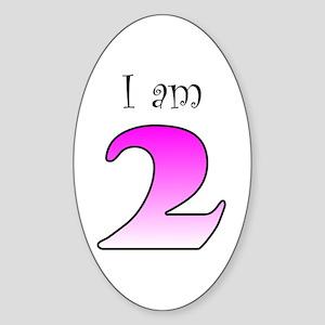 I am 2 (pink) Oval Sticker