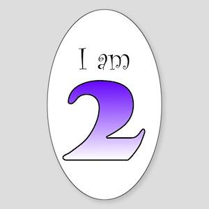 I am 2 (purple) Oval Sticker