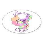 Yihuang China MAp Oval Sticker (10 pk)