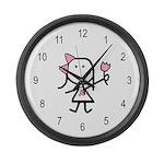 Girl & Pink Ribbon Large Wall Clock
