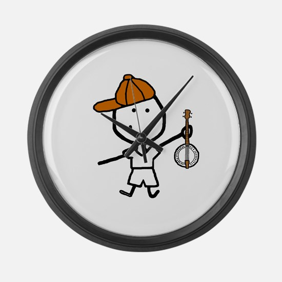 Boy & Banjo Large Wall Clock