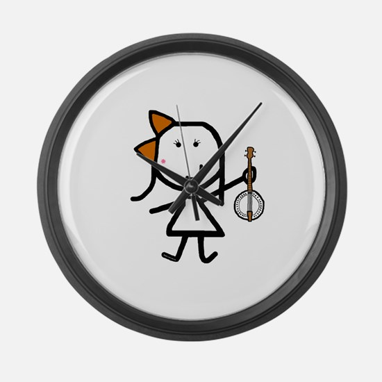 Girl & Banjo Large Wall Clock