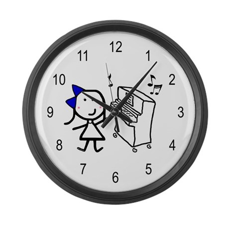 Girl & Piano Large Wall Clock