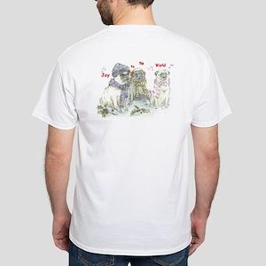 White T-Shirt -Christmas- With Santa Pug