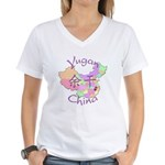 Yugan China Map Women's V-Neck T-Shirt