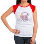 Yujiang China Map Women's Cap Sleeve T-Shirt