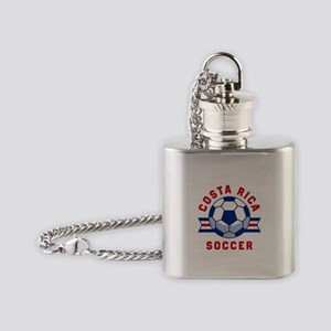 Costa Rica Soccer Flask Necklace