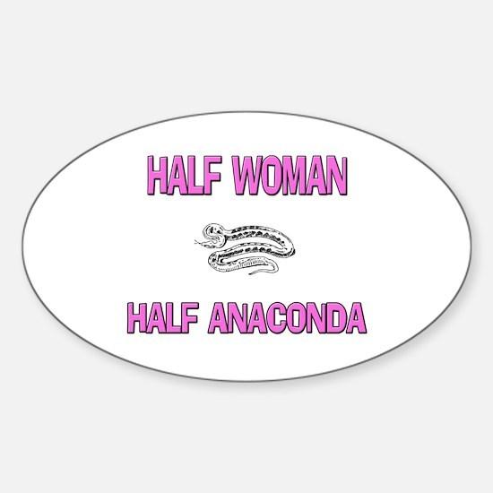 Half Woman Half Anaconda Oval Decal