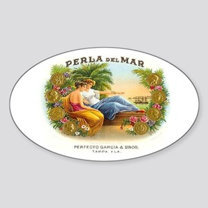 Perla del Mar Cigar Ad Oval Sticker