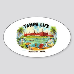 Tampa Life Vintage Cigar Ad Oval Sticker