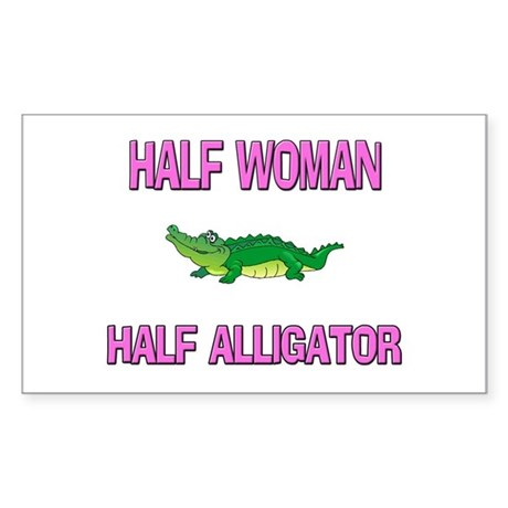 Half Woman Half Alligator Rectangle Sticker