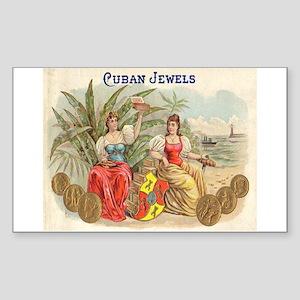 Cuban Jewels Cigar Art Rectangle Sticker