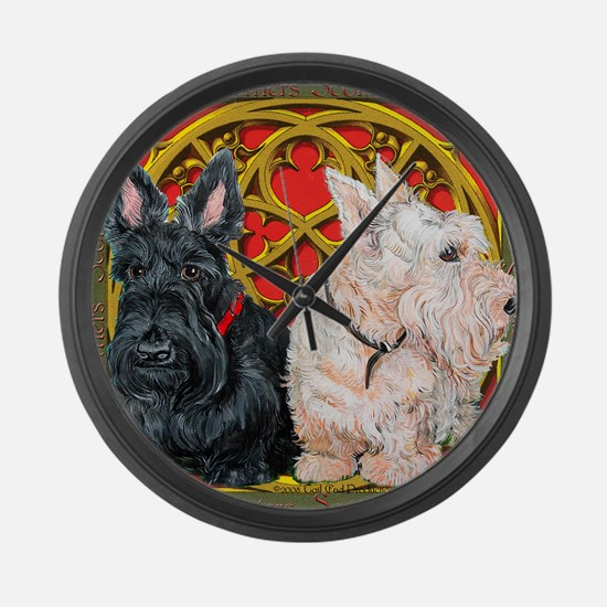 Scottish Terriers Celtic Dogs Large Wall Clock