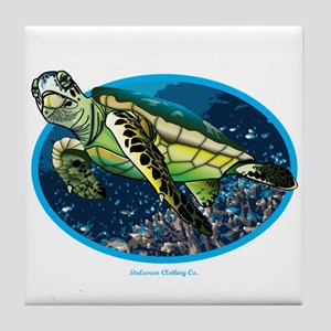 i love turtle's and the ocean Tile Coaster
