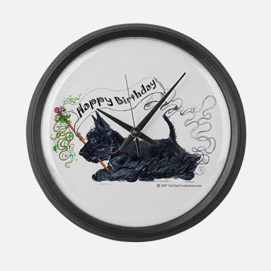 Scottish Terrier Birthday Dog Large Wall Clock