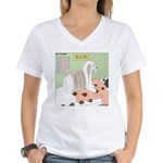 Shih Tzu Shiitake Shiatsu Women's V-Neck T-Shirt