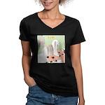 Shih Tzu Shiitake Shia Women's V-Neck Dark T-Shirt