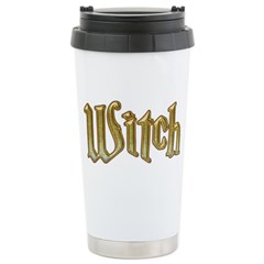 Gold Witch Bling text Stainless Steel Travel Mug
