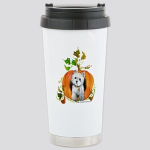 Autumn Pumpkin Westie Stainless Steel Travel Mug