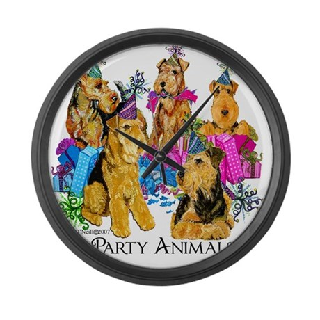 Airedale Terrier Party Large Wall Clock